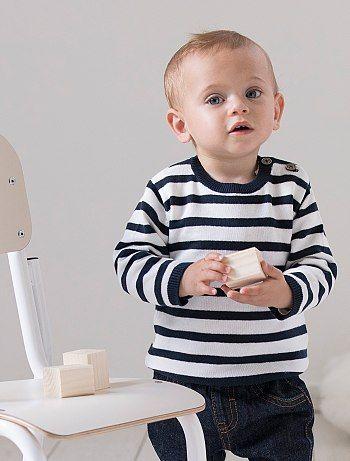 Pull en coton à col rond                                                                                                     rayé bleu Bébé garçon  - Kiabi