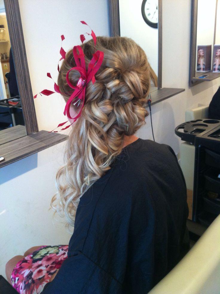 Wedding guest hair, updo, fascinator, long hair