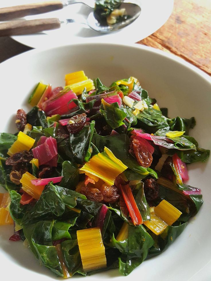 Rainbow Chard with Raisins � add colour to your plate!