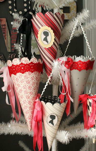 Valentine's Day or May Day Paper Cones (love the cameos, colorful ribbons, and rick rack handles)
