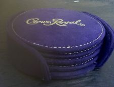 crown+royal+coasters | Set of 4 CROWN ROYAL COASTERS with HOLDER Purple Faux Suede w Gold ...