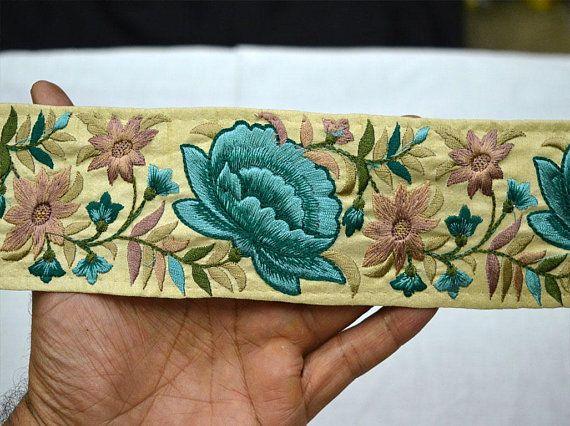 Silk Ribbon Sari Border Wedding Lehenga Dress Fabric Dupattas 9 Yard Sari fabric Indian trim Jacquard Trim Sari Silk Fabric Trim
