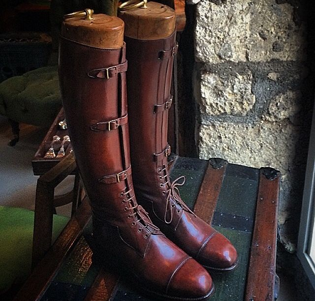 Pair Edwardian Officer's Leather Riding Boots