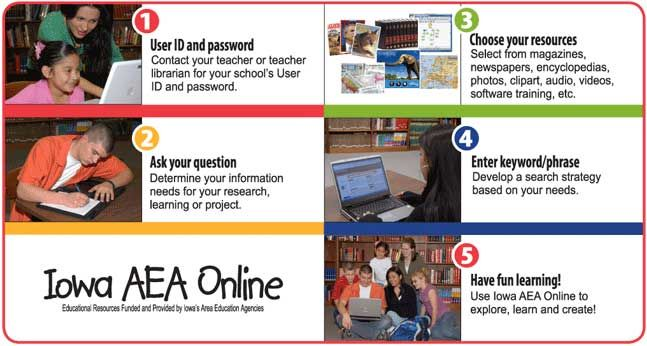 Iowa AEA Online is funded and supported by Iowa's AEAs and provides no-cost access to 13 high-quality, web-based resources. Students and staff login with a username and password that is assigned to their school.