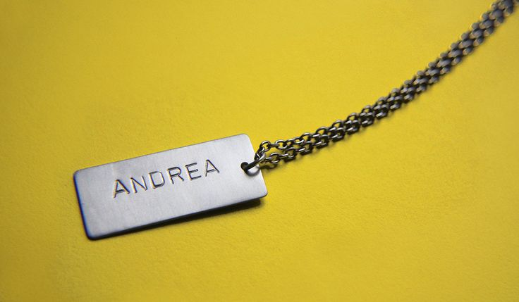 Name tag necklace complete with chain handmade in Sterling Silver  - Names by MINRLhandcrafts on Etsy