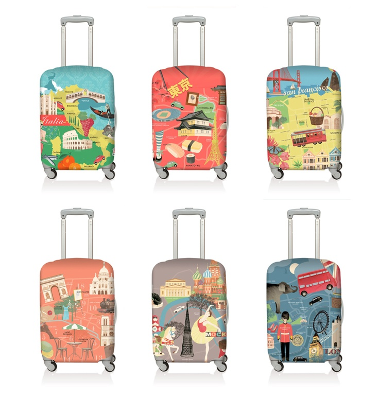 """LOQi Urban Luggage Covers.    Fits most medium luggage sizes    HEIGHT 55 - 65cm / 22"""" - 26""""  WIDTH 35 - 45cm / 14"""" - 18""""  DEPTH 20 - 30cm / 8"""" - 12""""    Weight: 160g / 5.6oz  Material: 85% polyester & 15% spandex / 240gsm  Water-resistant  Will not fade    These handy dandy luggage covers are available for only $29.90 at The Planet Traveller"""