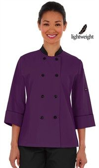 Style # 831351: EGGPLANT W/ BLACK: Women's Double Breasted 3/4 Sleeve Chef Coat - Plastic Buttons - 65/35 Poly/Cotton Poplin