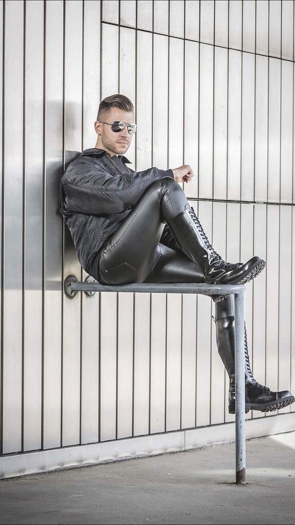 "punkerskinhead: "" handsome guys in sexy tight gear with skinhead boots """