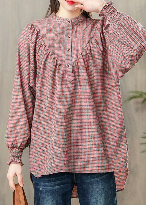 cce3d0744a new pink plaid cotton blouse casual loose long sleevel tops #cottontops#pinkplaidtop