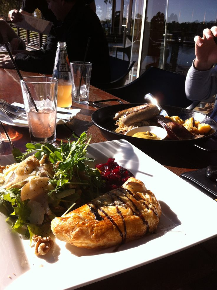German style, at Duckstein Brewery in Margaret River, Western Australia. Mushroom, spinach and ricotta strudel, served with beetroot relish and a salad of rocket, pear, walnuts and Parmesan (and super tasty dressing). Ignore my husband's carnivorous meal in the background!