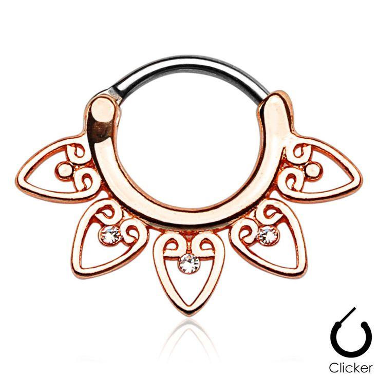 Rose Gold Tribal Fan Septum Clicker