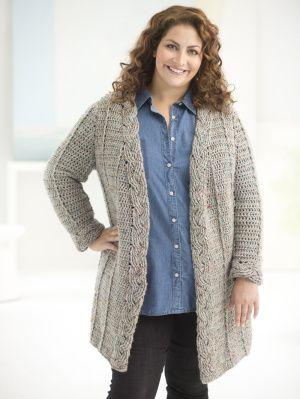 Free Crochet Pattern L50167 Curvy Girl Crochet Cabled Cardigan : Lion Brand Yarn Company