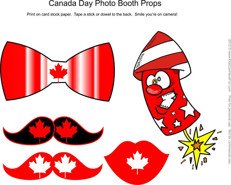 Free DIY Canada Day Photo Booth Props Page 1 http://www.kidscanhavefun.com/photo-booth-props.htm