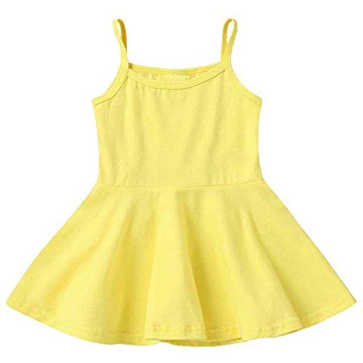 onisjun Kinder Mädchen Sommer Casual Dress Solid Sleeveless Spaghetti Strap Kle… – Mädchen