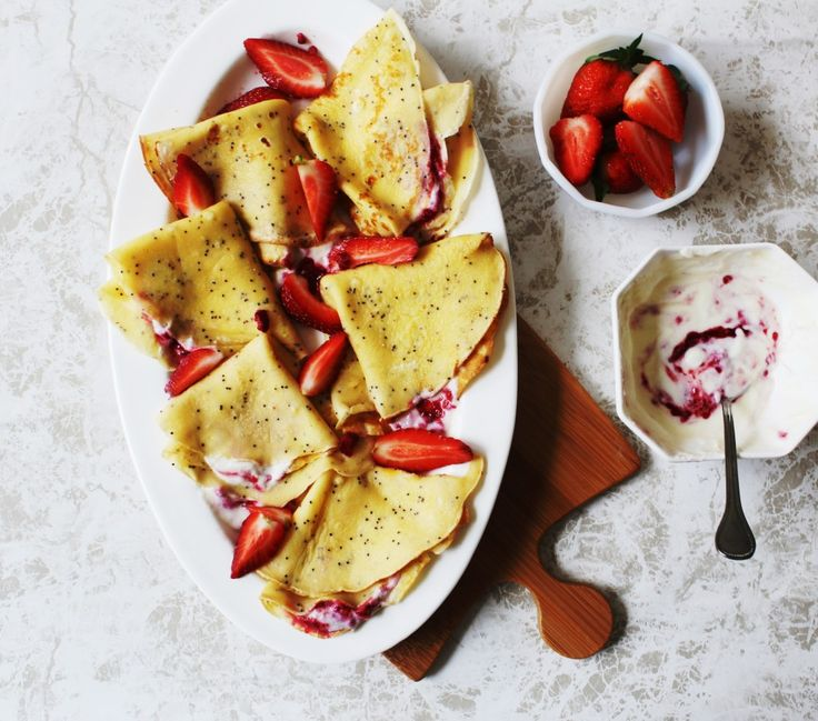 Breakfast Poppy Seed Crepes with Strawberries and Yoghurt