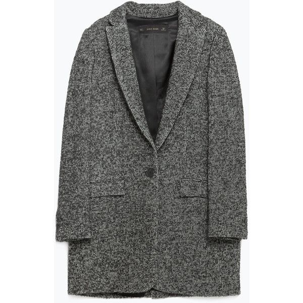Zara Oversize Wool Blazer ($129) ❤ liked on Polyvore featuring outerwear, jackets, blazers, clothes - outerwear, coats, coats & jackets, wool lined jacket, zara jacket, oversized blazer and wool jacket