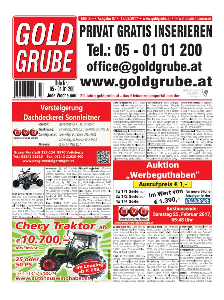 Privat Gratis Inserieren auf www.goldgrube.at https://www.yumpu.com/de/document/view/56987662/goldgrube-ausgabe-7-17
