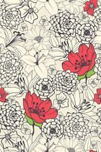 Seamless floral pattern with red flowers on monochrome background #tattoos #flowertattoos