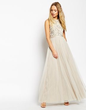 Shop Needle Thread Embellished Mesh Lace Maxi Dress At ASOS