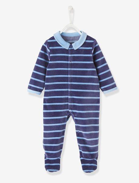 Baby Velvet Sleepsuit Blue-grey stripe