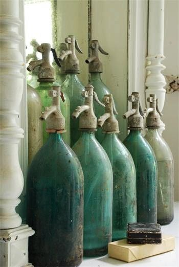Jeanne d'Arc Living   green seltzer bottles: Seltzer Bottle, Antiques Bottle, Vintage Bottle, Color, Green, Vintage Seltzer, Sodas Bottle, Vintage Interiors, Old Bottle