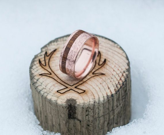 Mens Wedding Band 10K Gold & Wood Inlay Ring w/ by StagHeadDesigns