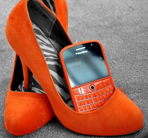 orange, orange, orange!!! I want the phone and heels but this would be me if I had them. :)