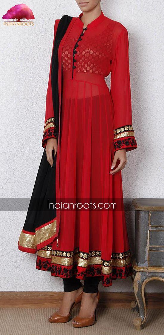 #red #black #elegant #anarkali