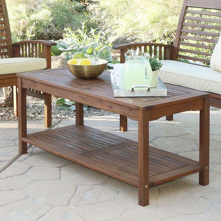 Acacia wood patio coffee table in dark brown walker