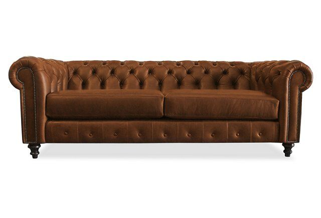 "Saretta 90"" Tufted Leather Sofa, Caramel"