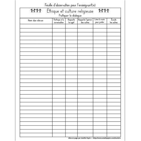 Fichier PDF téléchargeable En noir et blanc 1 page Cette feuille est une grille d'observation de l'enseignant des attitudes favorisant le dialogue (éthique et culture religieuse) de chacun de ses élèves.