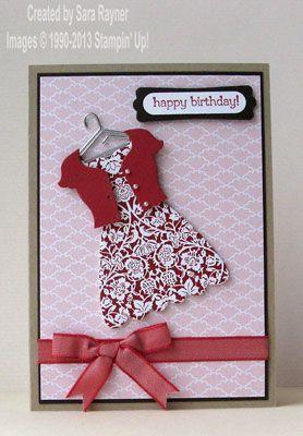 Twitterpated birthday dress - Stampin' Up! use emc folder - sq lattice for sweater