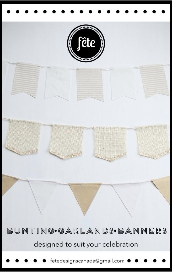 Custom bunting, garlands and banners designed to suit your celebration and hand-crafted in Canada. From rustic to refined and every style in between, Fete can bring your decor vision to life. Contact us for details!