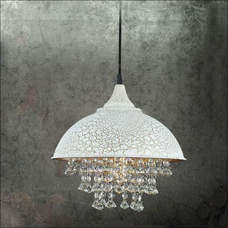 Ceiling Light, MKLOT Industrial Retro Style Rust Wrought Iron Shaded Glittering Crystal Beads Hanging Aged Pendant Light Lamp Chandelier with 1 light