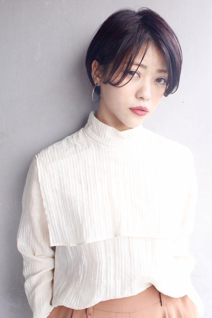 前髪長めのショートスタイル★ カラーは暗めピンクバイオレットです!