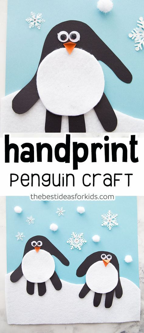 These handprint penguins are cute and easy to make for a fun Winter craft! Easy kids craft for Winter with snowflakes and penguin! Antarctica crafts for kids #winter #kidscrafts #penguins #wintercrafts #handprint via @bestideaskids