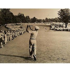 Merion Golf Club - One of the greatest golf photos in history. Ben Hogan hits a laser one iron on the green in the 1950 US Open at Merion Golf Club. Ben goes on to win the open and his win is called the Miracle at Merion.