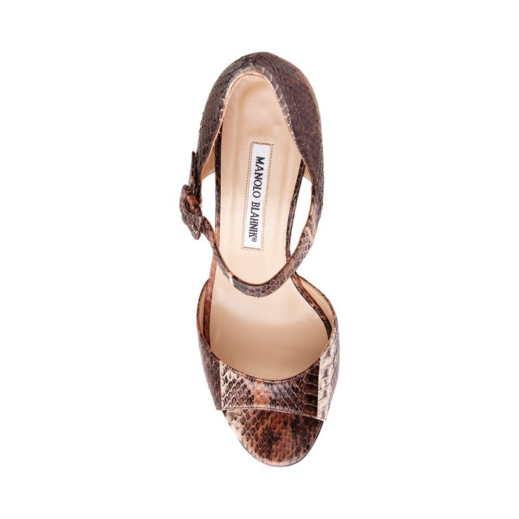 Manolo Blahnik Caldo Ankle Strap Leather Sandal Brown Snakeskin - To last season after season, a sophisticated pair rendered in genuine snakeskin, Caldo Leather Brown Snakeskin Ankle Strap Sandals is an addition to spice up any outfit in your wardrobe.