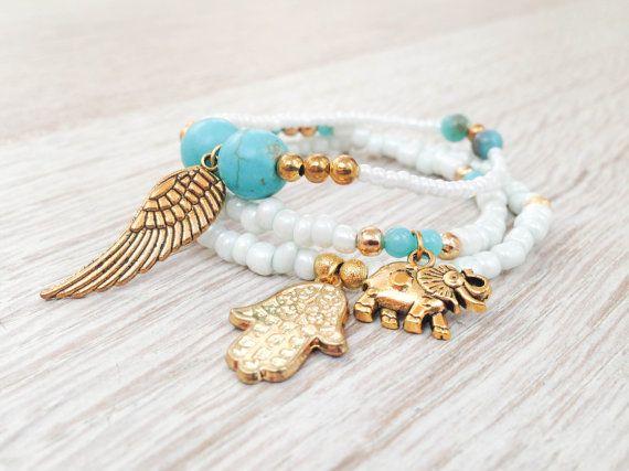 Boho jewelry hamsa bracelet gold hamsa  hamsa by Olive1990 on Etsy, €8.80