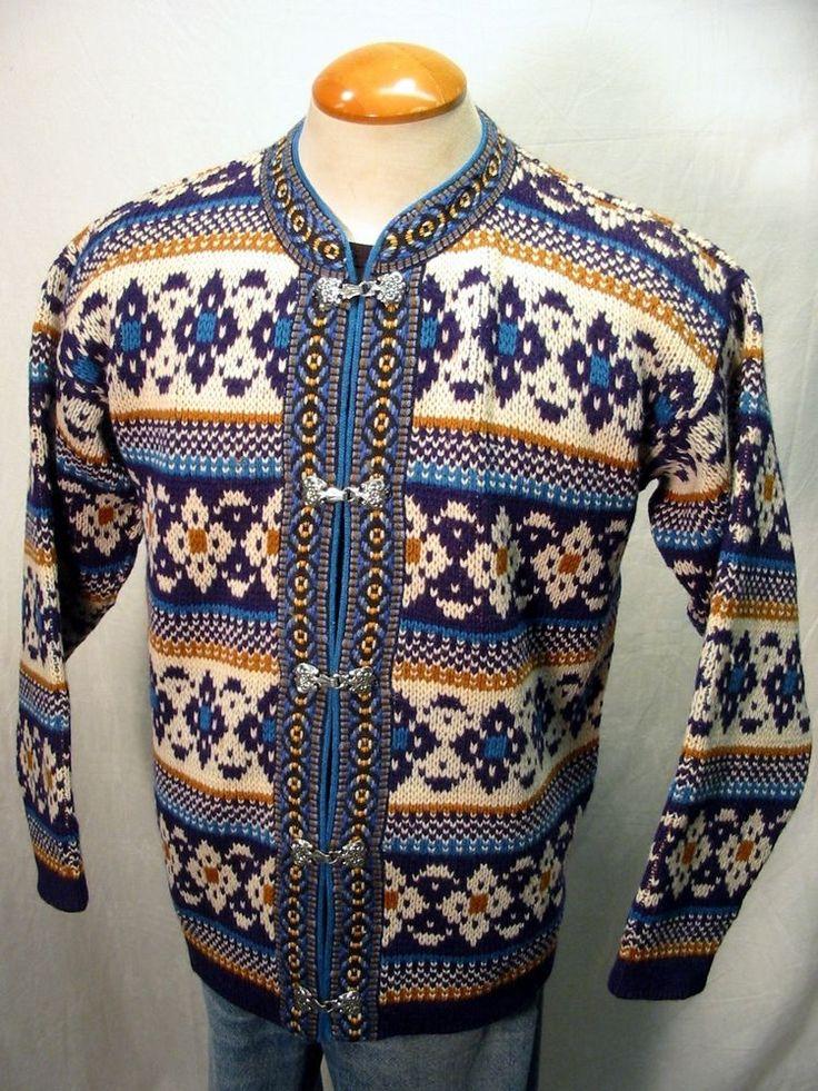Stunning NESJAR Norwegian Dale Wool Ski Nordic Sweater Pewter Clasps Sz M #NESJAR #Cardigan