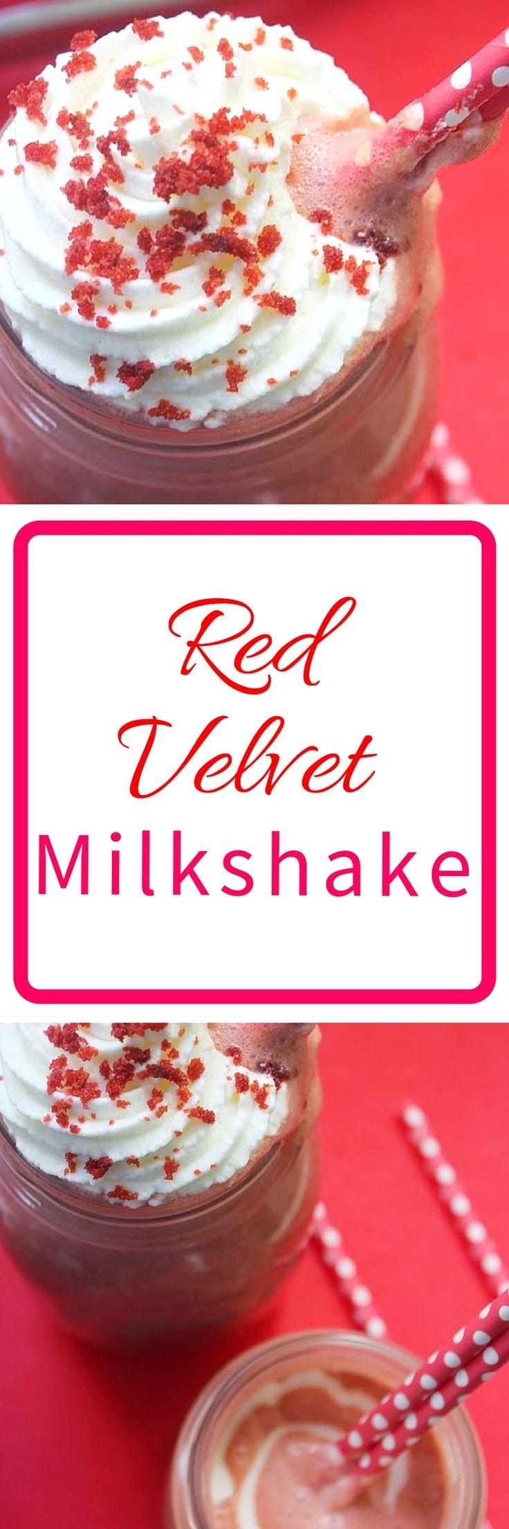 Red Velvet Milkshae recipe made with actual red velvet cake! Recipe from FlavoursandFrosting.com