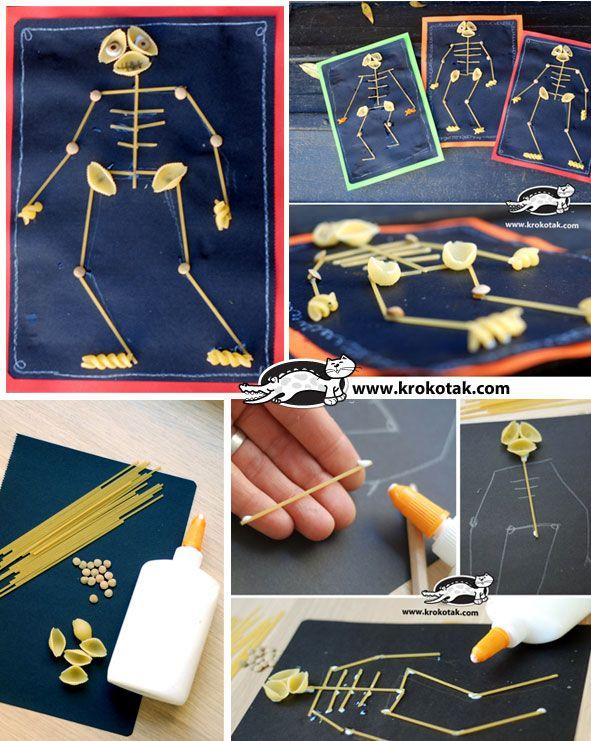 Trabajar la motricidad fina con pasta y formar un esqueleto.