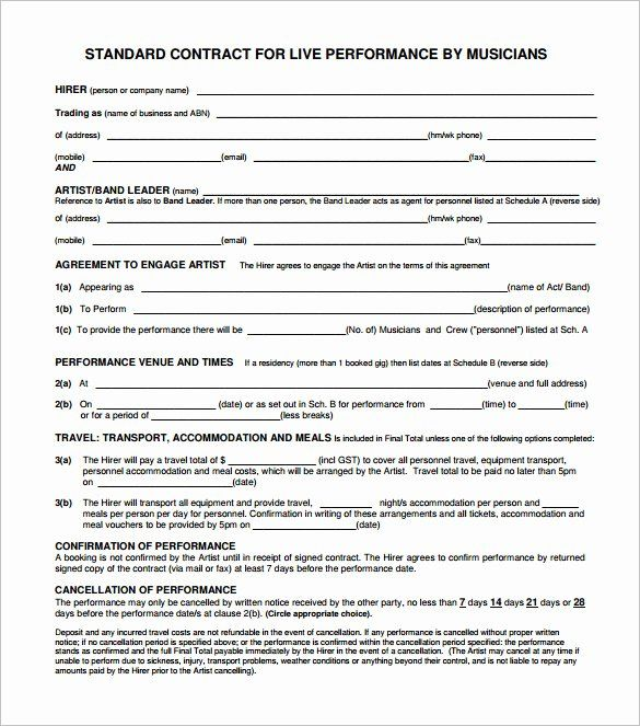 Wedding Band Contract Template 2020 Contract Template