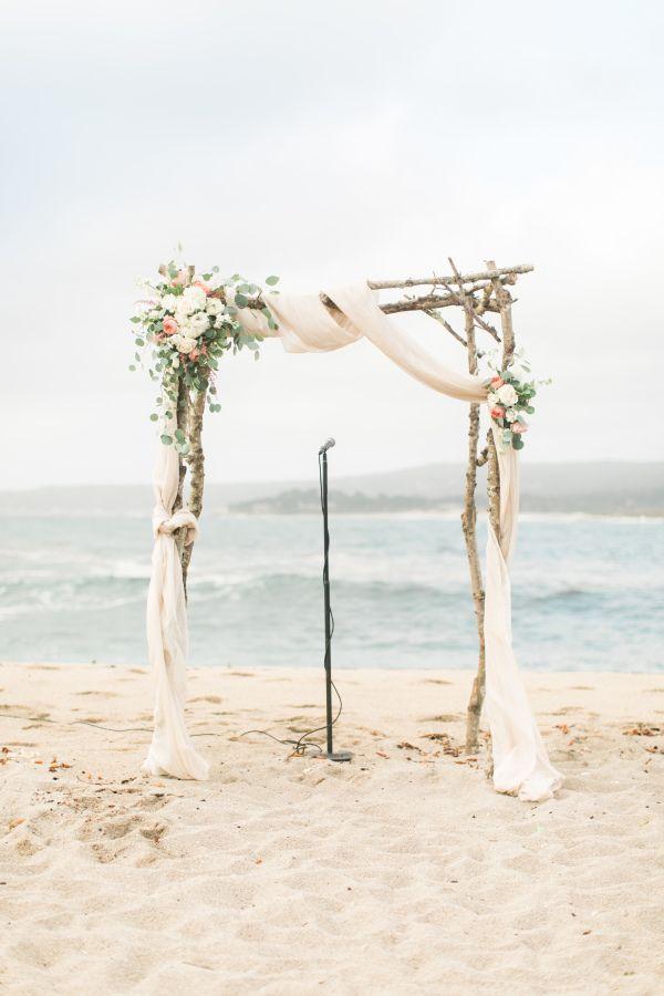 Beachy wedding ceremony arbor: http://www.stylemepretty.com/california-weddings/carmel/2016/01/01/pink-pastel-beach-wedding-in-carmel/ | Photography: Wai Reyes - http://waireyes.com/