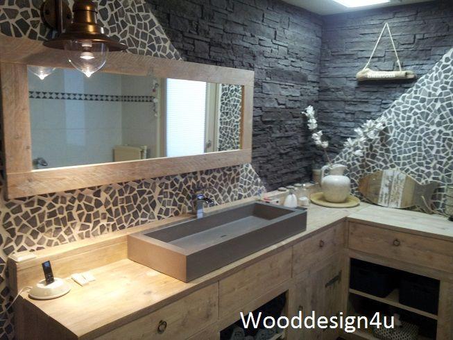 17 beste afbeeldingen over Interieur en woonaccessoires van steigerhout op Pi # Wasbak Met Rek_153825