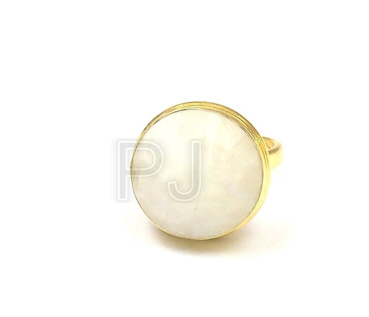 10% Off Summer Sale 925 Sterling Silver White Rainbow Moonstone Ring, 15 mm Round / 24k Gold Plated Jewelry Ring / Handmade Ring (PJ6236PJ) by PlantofJewel on Etsy