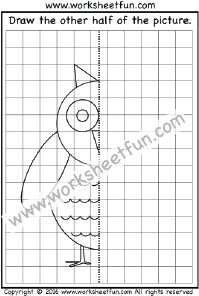 Draw the other half – Owl – One Worksheet