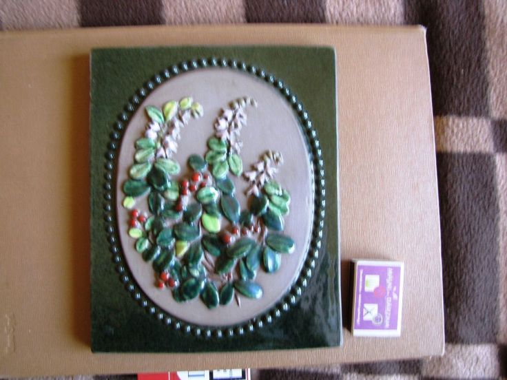 Vintage Wall plaque tile JIE Gantofta Keramik Sweden Flowers N-925 Design Aimo