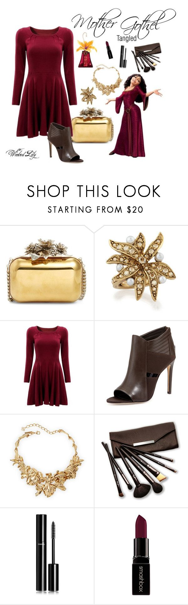 """""""Mother Gothel """"Disney Villains"""""""" by le-piano-argent ❤ liked on Polyvore featuring Jimmy Choo, Disney, Oscar de la Renta, Charles David, Borghese, Chanel and Smashbox"""