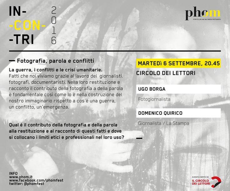 La scheda della seconda serata dell'iniziativa Incontri 2016 su fotografi e parola. Serata dedicata al tema dei conflitti e delle crisi umanitarie.